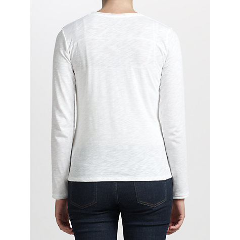 Buy Kin by John Lewis Fine Jersey Long Sleeve Top, White Online at johnlewis.com
