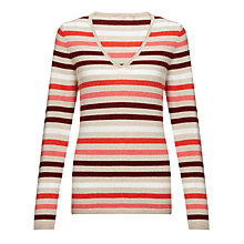Buy John Lewis Cashmere V-neck Jumper, Natural/Pink Online at johnlewis.com