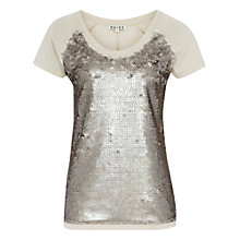 Buy Reiss Sequin Front Jersey Top, Oyster Online at johnlewis.com
