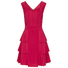 Buy Reiss Pleated Dress, Hot Pink Online at johnlewis.com