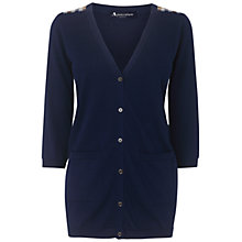 Buy Aquascutum Club Check Detail Cardigan, Navy Online at johnlewis.com