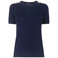 Buy Aquascutum Club Check T-Shirt, Navy Online at johnlewis.com