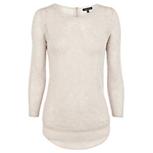 Buy Warehouse Pointelle Top, Beige Online at johnlewis.com