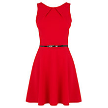 Buy Warehouse Pique Belted Dress, Bright Red Online at johnlewis.com
