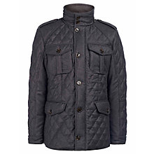 Buy Hackett London Holborn Quilted Jacket, Charcoal Online at johnlewis.com