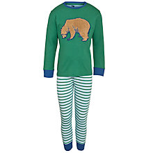 Buy John Lewis Boy Bear Jersey Pyjamas, Green/Multi Online at johnlewis.com
