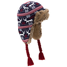 Buy John Lewis Boy Fair Isle Reindeer Trapper Hat, Blue/Red Online at johnlewis.com