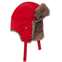 Buy John Lewis Boy Ski Faux-Fur Trapper Hat, Red Online at johnlewis.com