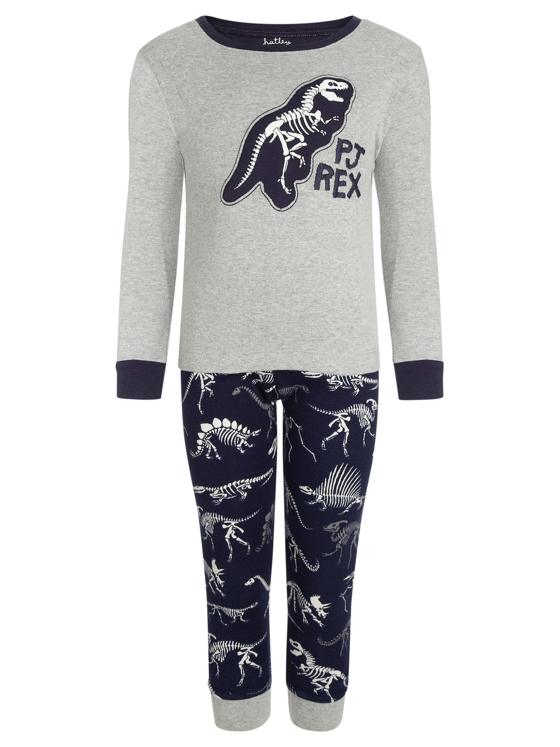 Hatley Dinosaur PJ Rex Pyjamas, Navy/Grey