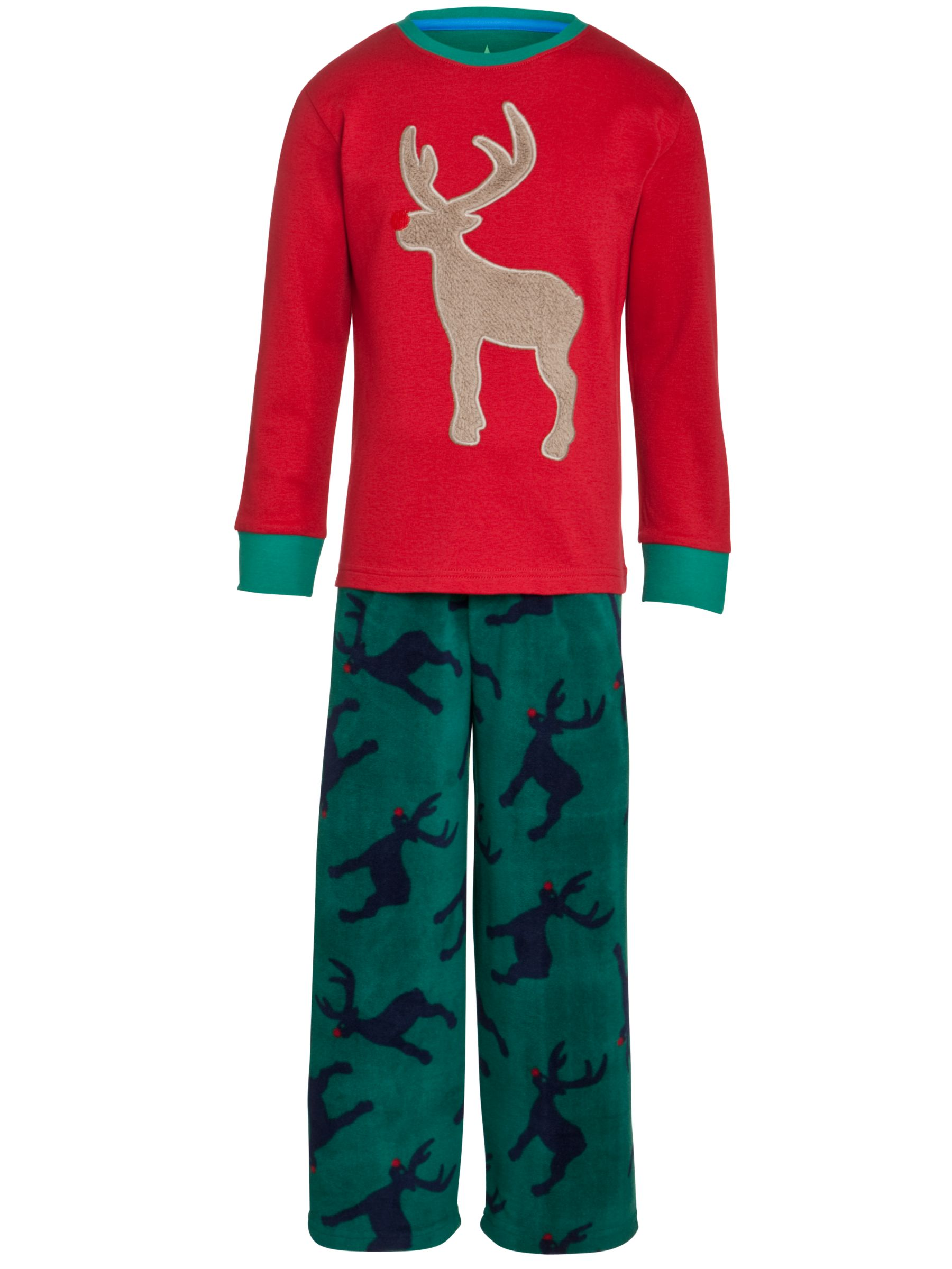 John Lewis Boy Reindeer Fleece Pyjamas, Red/Green