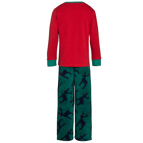 Buy John Lewis Boy Reindeer Fleece Pyjamas, Red/Green Online at johnlewis.com
