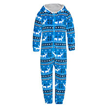 Buy John Lewis Boy Reindeer Fair Isle Onesie, Blue Online at johnlewis.com