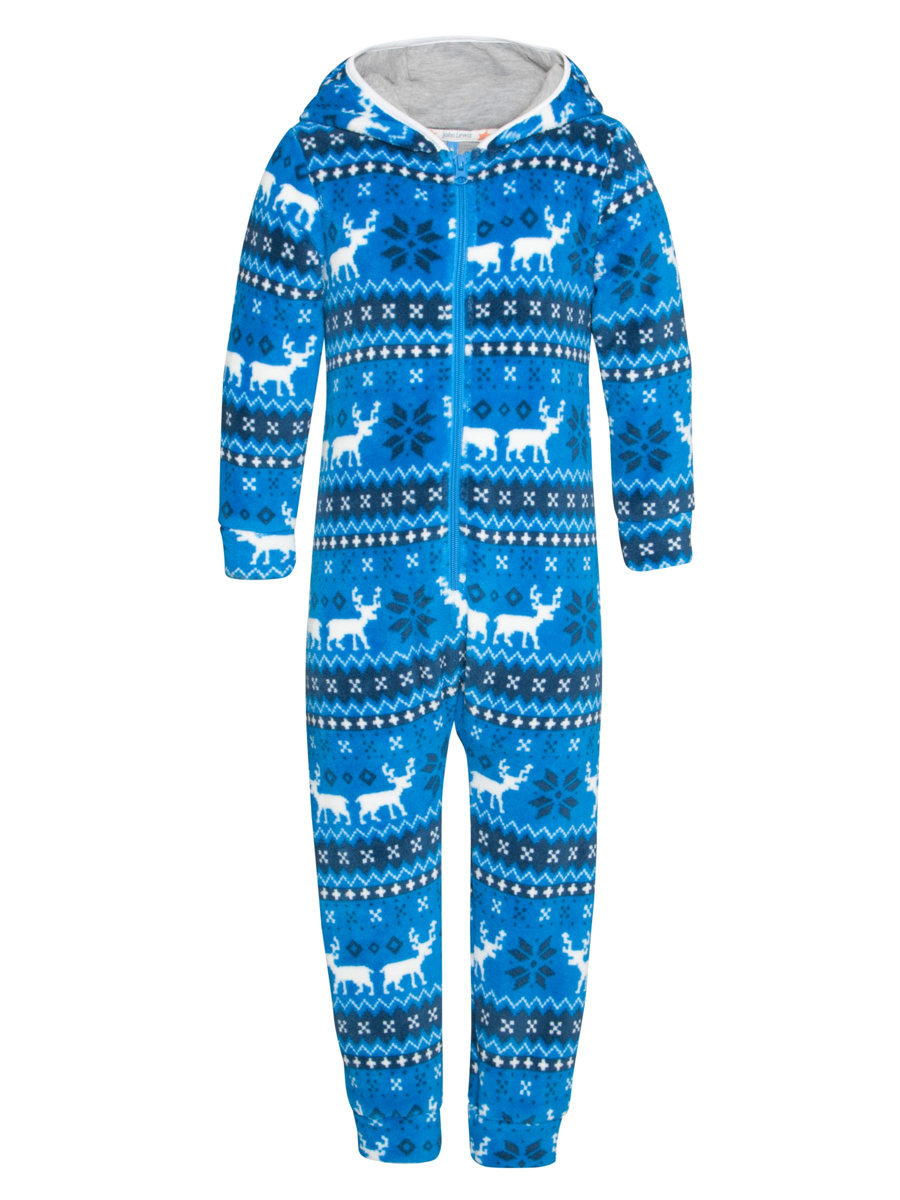John Lewis Boy Reindeer Fair Isle Onesie, Blue