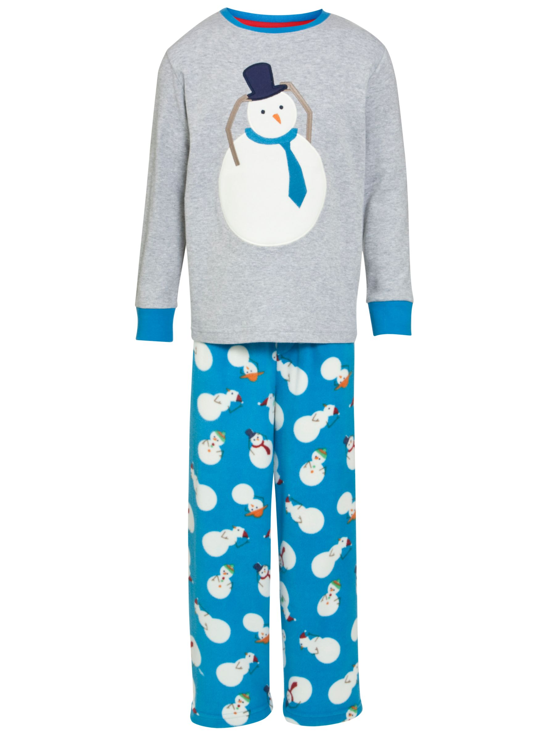 John Lewis Boy Snowman Pyjamas, Blue/Grey