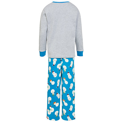 Buy John Lewis Boy Snowman Pyjamas, Blue/Grey Online at johnlewis.com