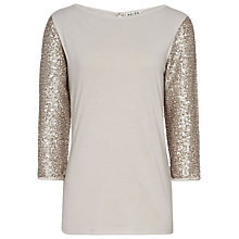 Buy Reiss Sequin Sleeve Jersey Top, Silver Online at johnlewis.com