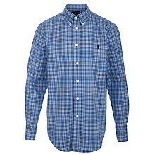 Buy Polo Ralph Lauren Custom Fit Long Sleeve Checked Shirt, Blue Online at johnlewis.com