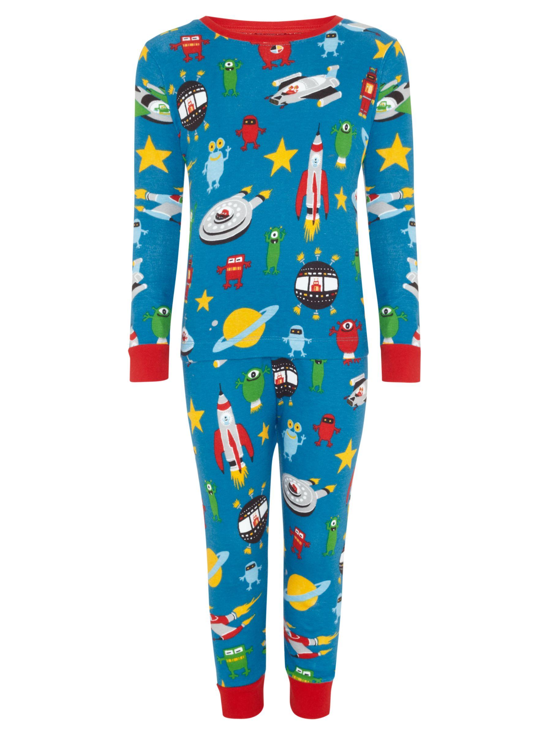 Hatley Boys' Spaceship Print Pyjamas, Blue/Multi