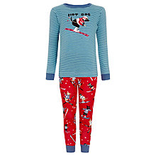 Buy Hatley Boys' Hot Dog Skiing Print Pyjamas, Red/Blue Online at johnlewis.com