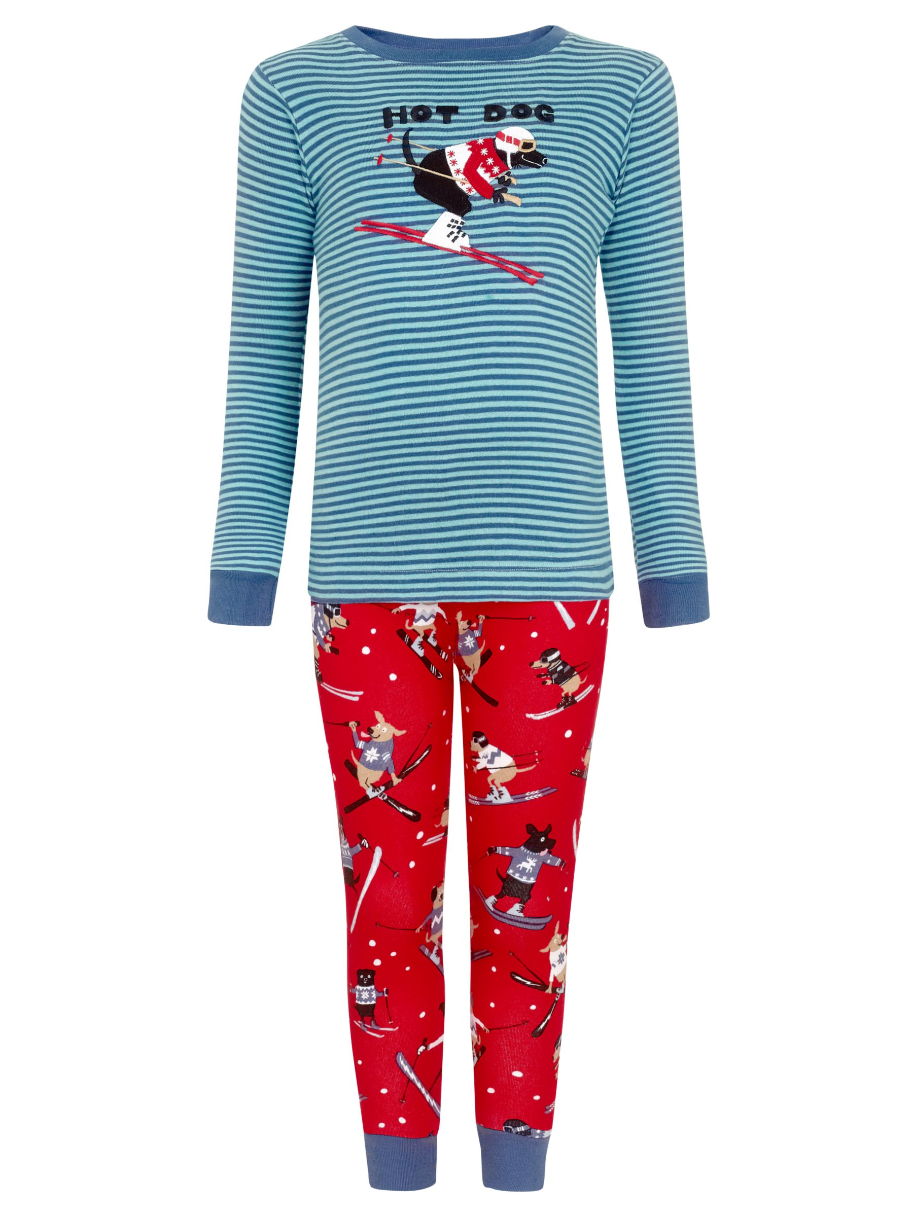 Hatley Boys' Hot Dog Skiing Print Pyjamas, Red/Blue