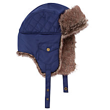 Buy John Lewis Boy Faux Fur Ski Trapper Hat, Navy Online at johnlewis.com