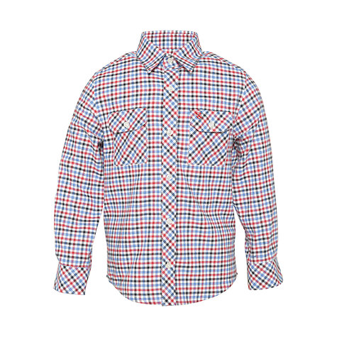 Buy Barbour Boys' Aldon Long Sleeve Checked Shirt, Red/Blue Online at johnlewis.com