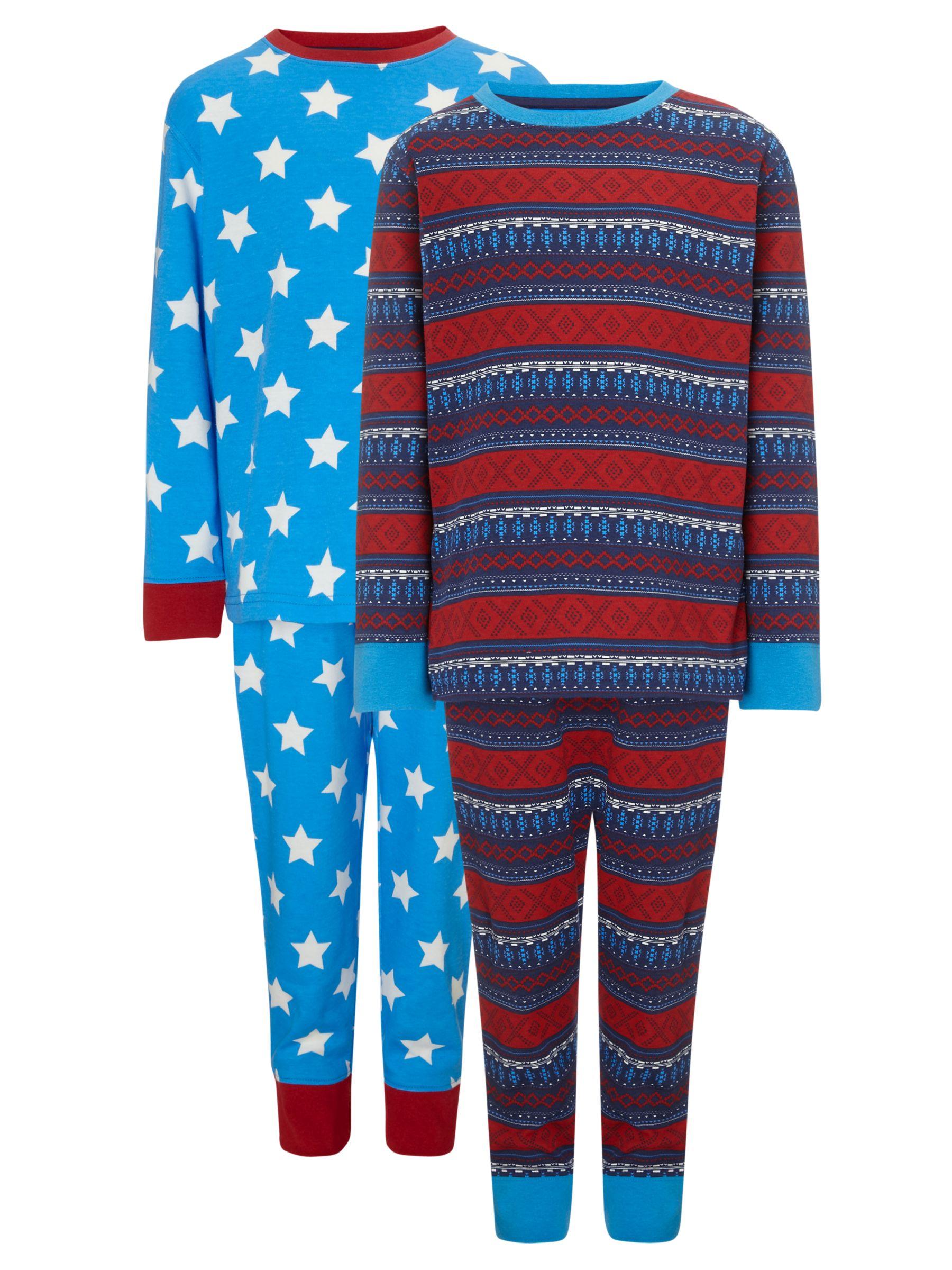 John Lewis Boy Fair Isle and Star Pyjamas, Pack of 2, Red/Blue