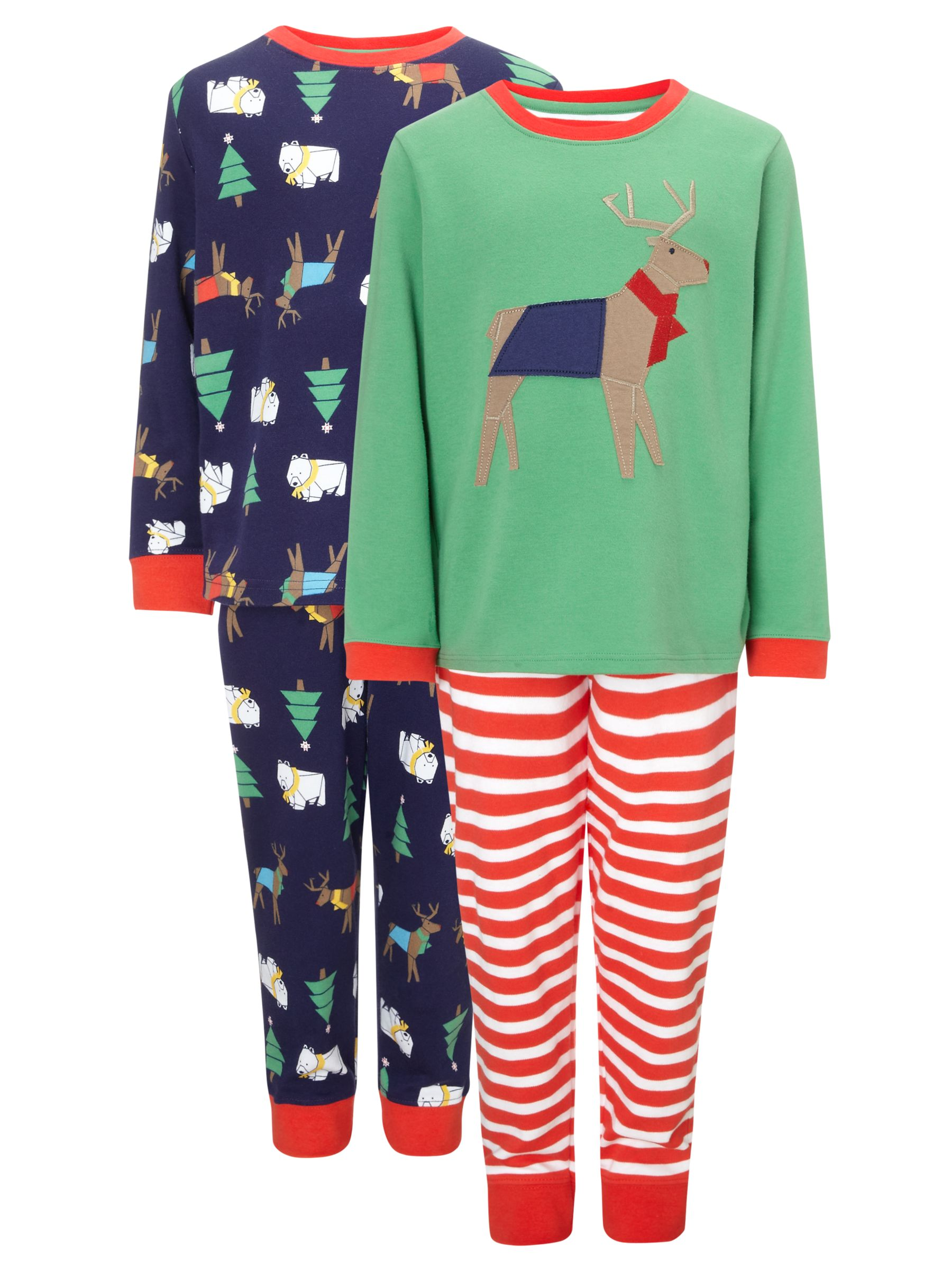 John Lewis Boy Reindeer Pyjamas, Pack of 2, Multi