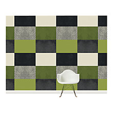 Buy Surface View Green Square Patchwork Wall Mural, 360 x 265cm Online at johnlewis.com