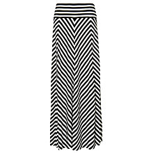 Buy Phase Eight Jasmin Chevron Striped Maxi Skirt, Black/White Online at johnlewis.com
