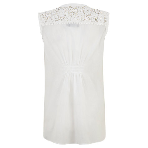 Buy Mint Velvet Lace Trim Blouse, White Online at johnlewis.com