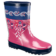 Buy John Lewis Girl Sprawling Floral Wellington Boots, Pink Online at johnlewis.com