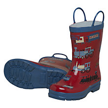 Buy Hatley Trains Wellington Boots, Red Online at johnlewis.com