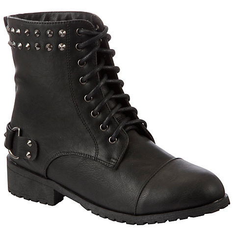 Buy John Lewis Girl Cara Studded Biker Boots, Black Online at johnlewis.com