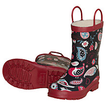 Buy Hatley Paisley Birds Wellington Boots, Navy Online at johnlewis.com