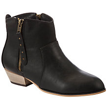 Buy John Lewis Girl Faith Double Zip Stud Boots, Black Online at johnlewis.com