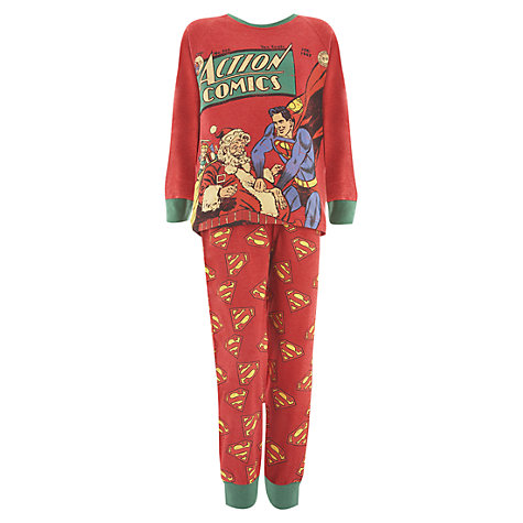Buy Superman Christmas Pyjamas, Red/Green Online at johnlewis.com