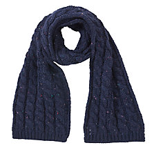 Buy John Lewis Boy Fleck Cable Knit Scarf, Navy Online at johnlewis.com