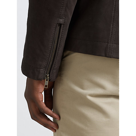 Buy John Lewis 2 in 1 Borg Collar Harrington Leather Jacket, Brown Online at johnlewis.com