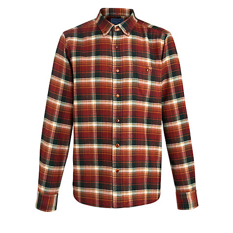 Buy John Lewis European Rustic Check Long Sleeve Shirt, Rust Online at johnlewis.com