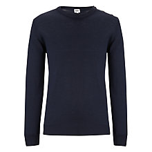 Buy Kin by John Lewis Merino Blend Button Neck Jumper, Navy Online at johnlewis.com