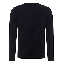 Buy JOHN LEWIS & Co. Fisherman Rib Crew Neck Jumper, Navy Online at johnlewis.com