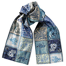 Buy Joe Casely-Hayford for John Lewis Tile Print Scarf, Navy Online at johnlewis.com