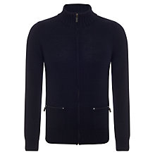 Buy Joe Casely-Hayford for John Lewis Merino Zip-Up Funnel Neck Jumper, Navy Online at johnlewis.com