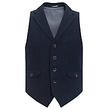 Buy JOHN LEWIS & Co. Harris Tweed Chalk Stripe Broad Collar Waistcoat, Navy Online at johnlewis.com