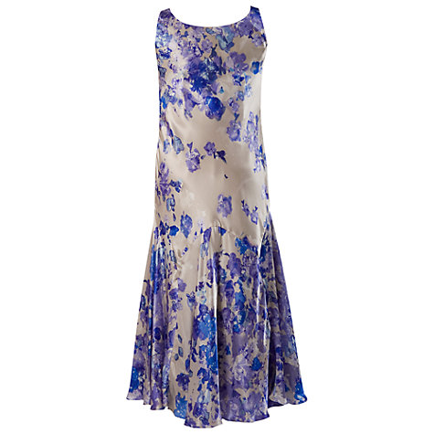Buy Chesca Silk Print Boarder Dress, Champagne/Lilac Online at johnlewis.com