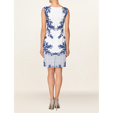 Buy Phase Eight Delphine Dress, White/Cobalt Online at johnlewis.com
