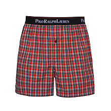 Buy Polo Ralph Lauren Check Woven Boxers, Red Online at johnlewis.com