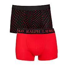 Buy Polo Ralph Lauren Spot and Plain Trunks, Pack of 2, Red/Black Online at johnlewis.com