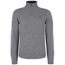 Buy Hackett Lambswool Half Zip Jumper, Grey Online at johnlewis.com